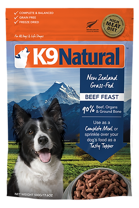 K9 Natural Freeze Dried Beef Feast Raw Dog Food ( 500g / 1.8kg / 3.6kg )