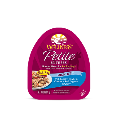 Wellness Petite Mini-Filets Roasted Chicken, Carrot & Red Peppers in Gravy (3oz)