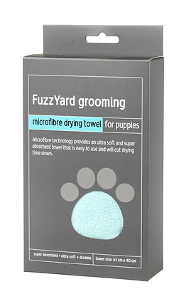 Fuzzyard Puppy Microfibre Drying Towel Blue With Grey Trim ( 63cm x 40cm )