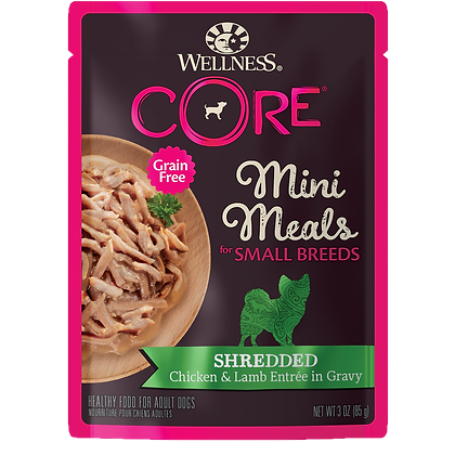 Wellness Core Shredded Chicken & Lamb Entrée Gravy Small Breed Mini Meals (3oz)