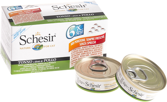 Schesir Tuna & Chicken Fillets Canned For CATS ( 50g x 6 )