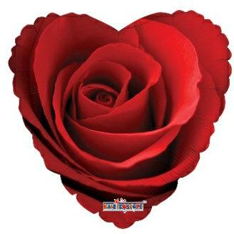 """Rose Heart shaped mylar balloon 18"""""""