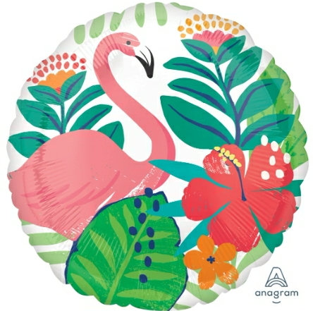 "Tropical Flamingo 18"" mylar balloon"
