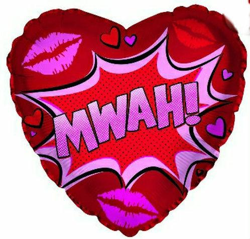 """Mwah! 18 """" mylar balloon"""