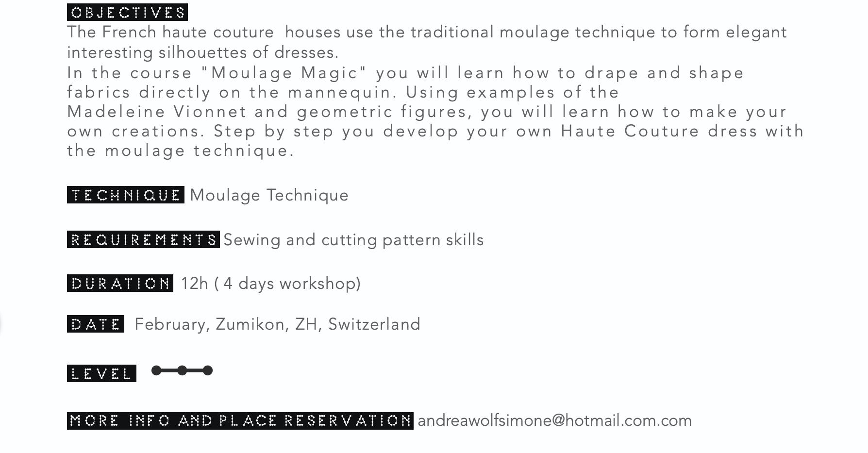 Workshop Informations