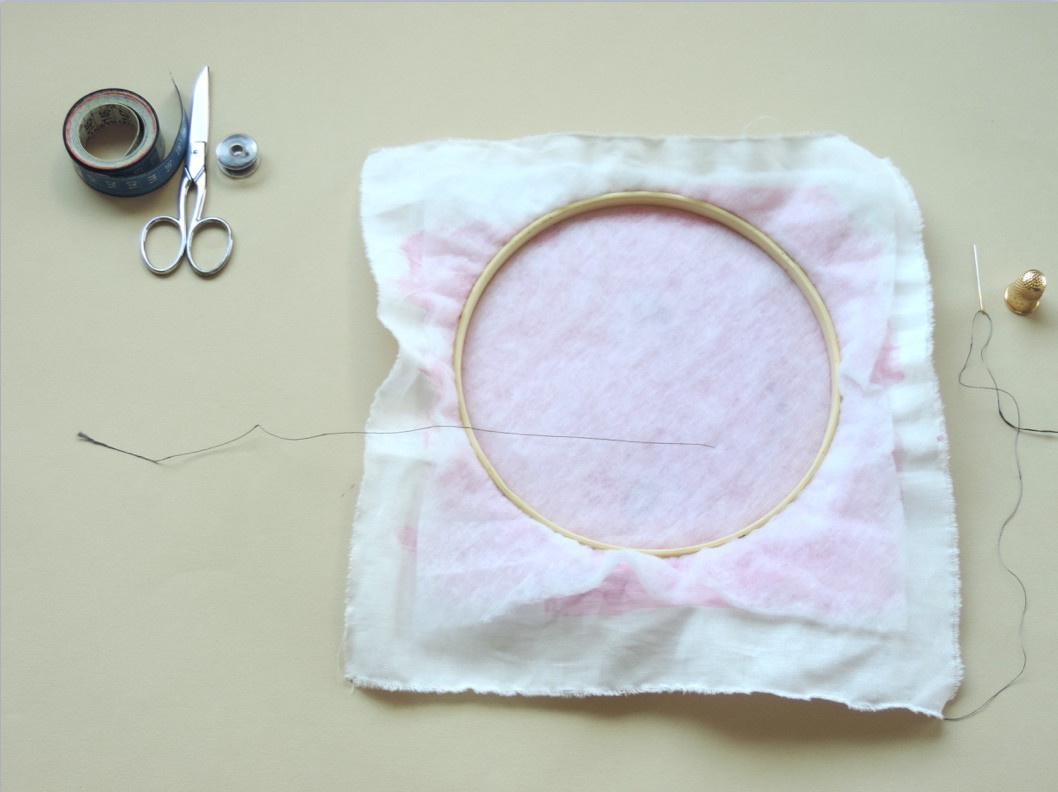 Starting the embroidery