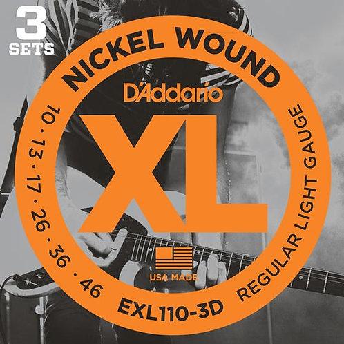 D'Addario EXL110-3D Regular Light Electric Guitar Strings Set (3 Pack)
