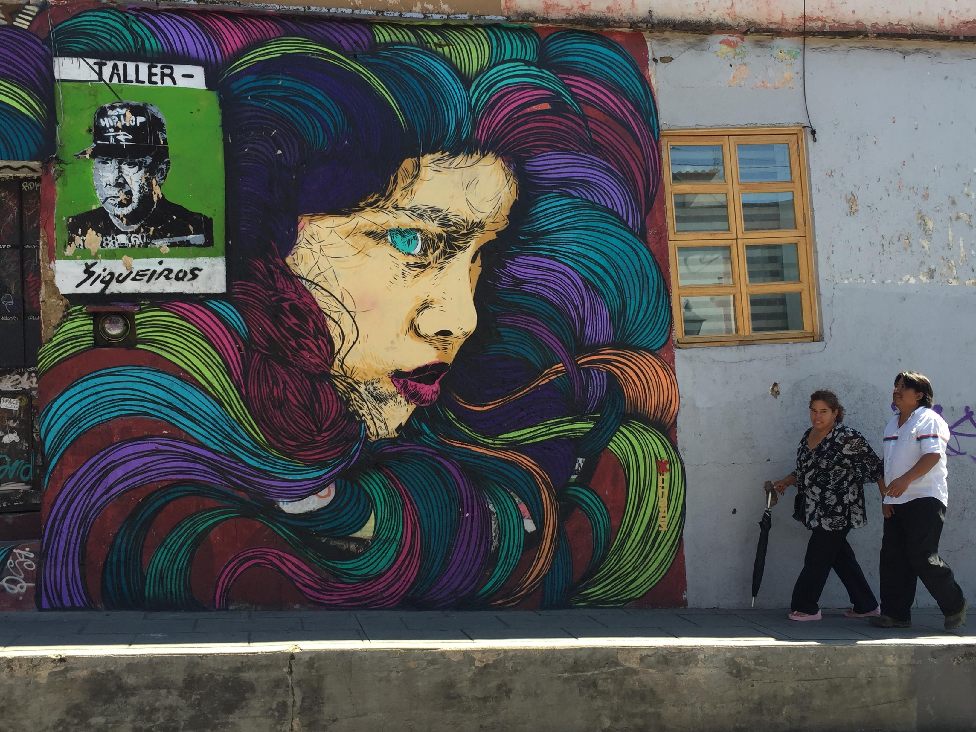 Mural of woman in jewel tones