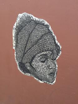 Oaxacan street art sketched woman