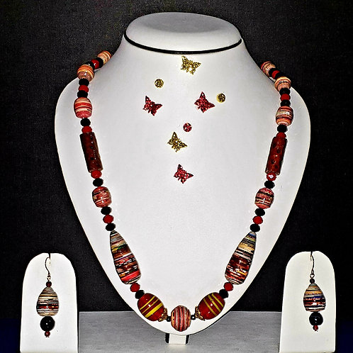 Neck piece set of red and brown beads with matching ear rings