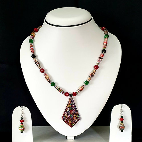 Red & Green Set with Large Pendant