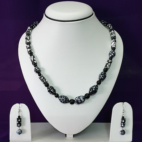 Black & White Short Set with Matching Earrings