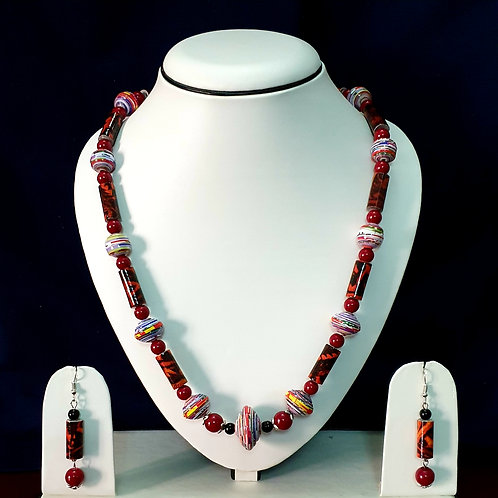 Dark Red Toned Long Beads Set with Matching Earrings