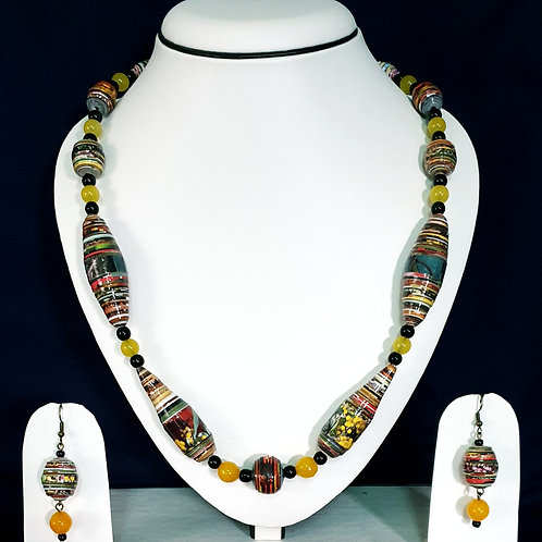 Yellow Overtones Conical Beads Set with Round Earrings