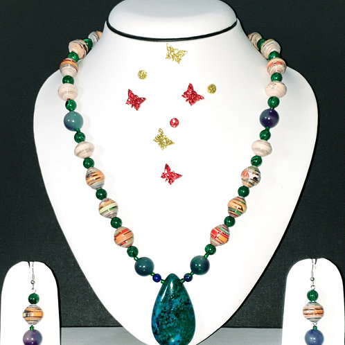 Neck piece set of yellow &  green beads and jade pendant with matching ear rings