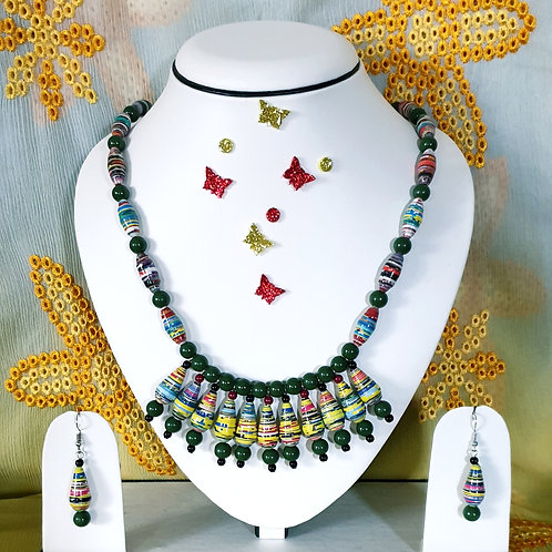 Neck piece set of green beads and cluster pendent with matching ear rings