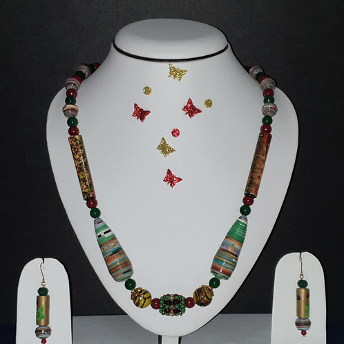 Neck piece set of multicolour and multi shape beads with matching ear rings