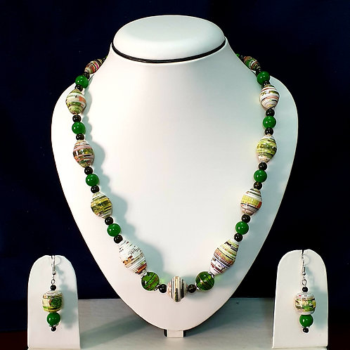 Green & White Round Beads Medium Set