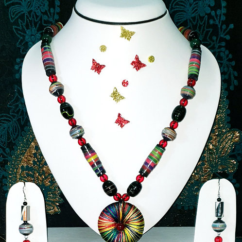Neck piece set of multicolour beads with disk pendant and matching ear rings