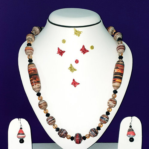 Neck piece set of red and  brown multi design beads  with matching ear rings