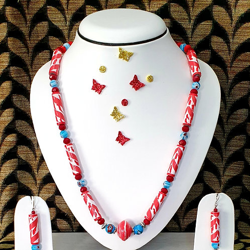 Neck piece set of red and white tube beads  with matching ear rings