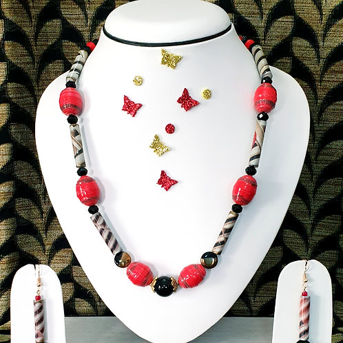 Neck piece set of red prominent round beads  with matching ear rings