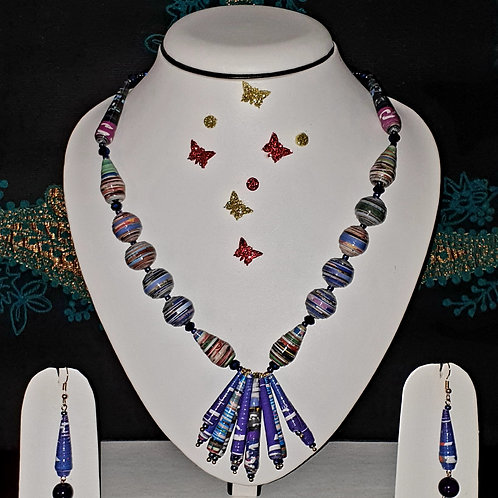 Neck piece set of lavender colour beads and  pendant with matching ear rings