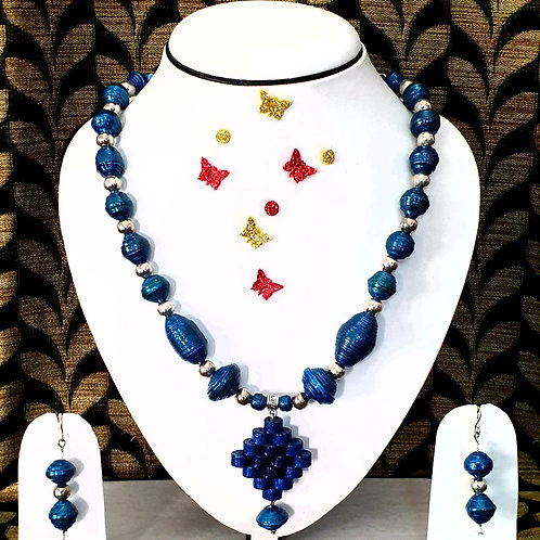 Neck piece set of blue beads and pendent with matching ear rings
