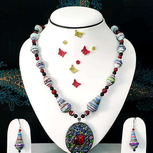 Neck piece set of multicolour beads with large pendant and matching ear rings