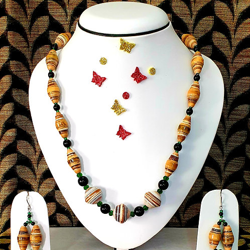 Neck piece set of yellow and black beads  with matching ear rings