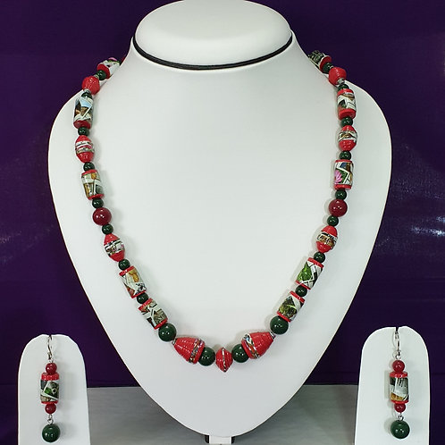 Red & Green Medium Set with Matching Earrings