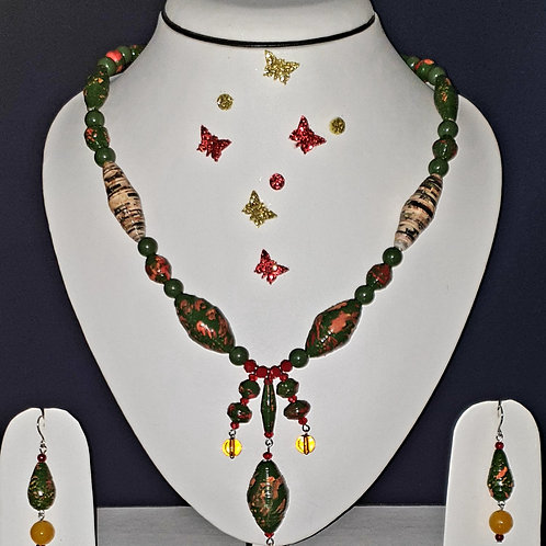 Neck piece set of multiclour beads and pendant with matching ear rings