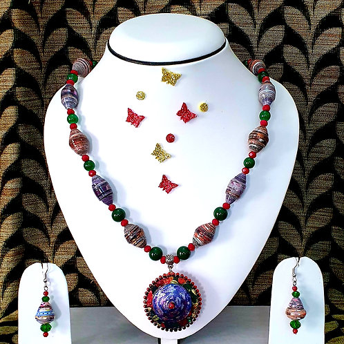 Neck piece set of multicolour beads and disc pendant with matching ear rings