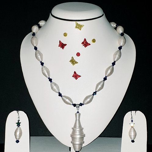 Neck piece set of  ivory white bicone  beads with matching ear rings