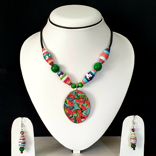 Bright Green and Red Short Set with Oval Pendant