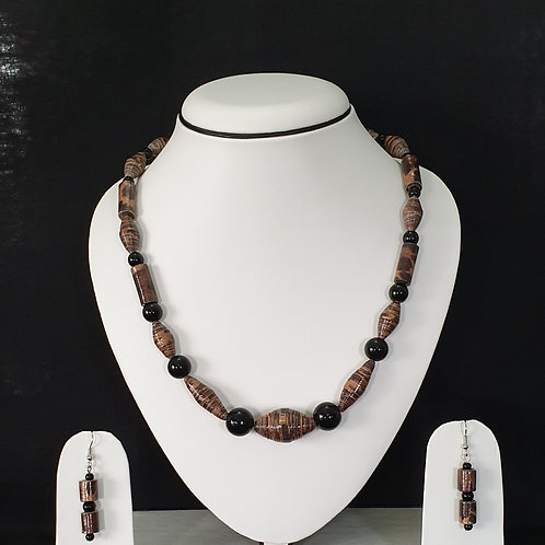 Metallic Brown and Black Beads Set with Earrings