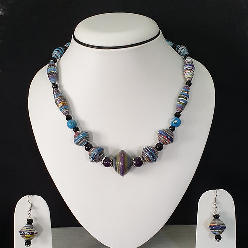 Neck piece set of blue and brown beads with matching ear rings