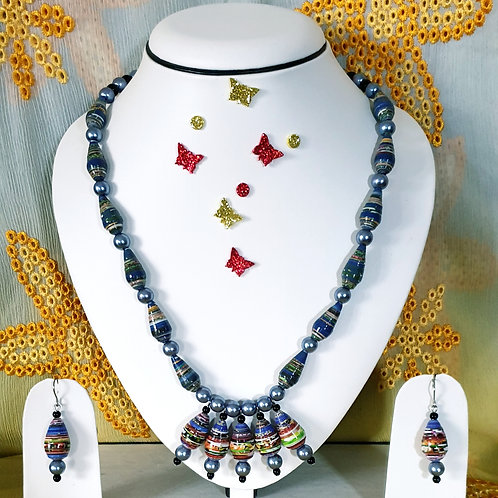 Neck piece set of blue and green cone beads with pendent and matching ear rings