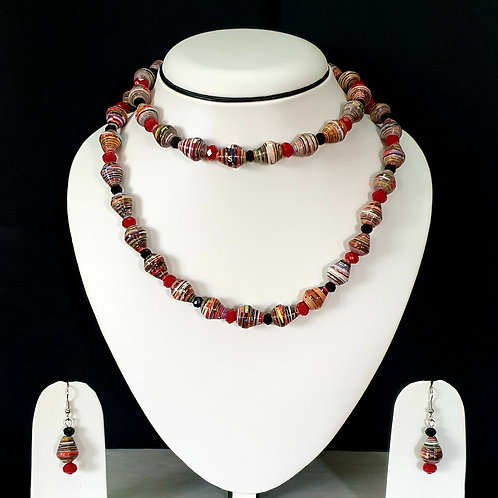 Two Layer Cherry Red Tone Set with Drop Earrings