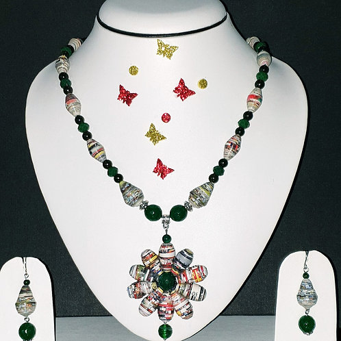 Neck piece set of multiclour beads and petal pendant with matching ear rings