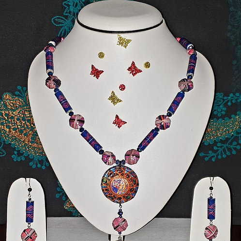 Neck piece set of multicolour beads and disk pendant with matching ear rings