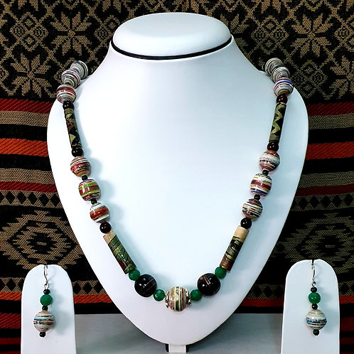 Long Beads Set with Round Beads Pendant