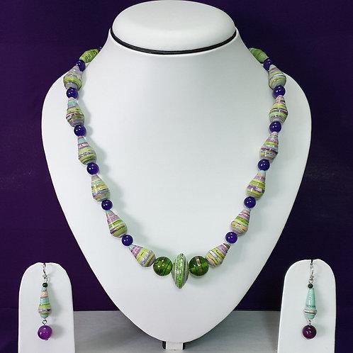 Lime Green & Indigo Medium Set with Matching Earrings