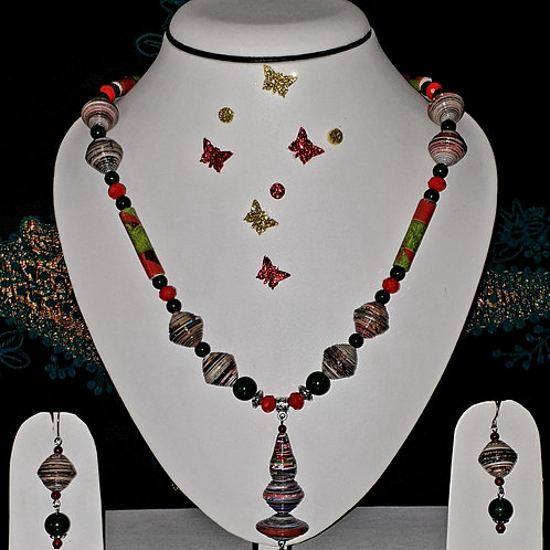 Neck piece set of multi design beads and  pendant with matching ear rings