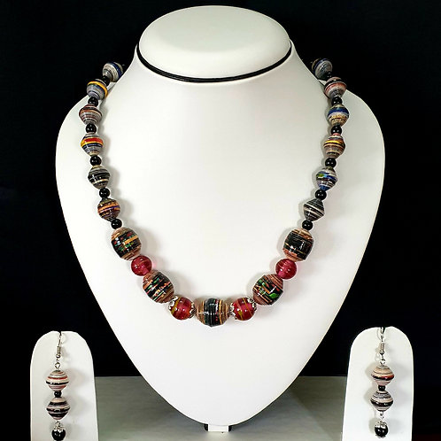 Short Set with Metallic Multi Color Beads with Cherry Red Beads in the Center