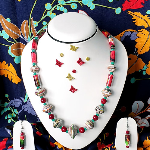 Neck Piece of multi colour red and green prominent beads with matching ear rings