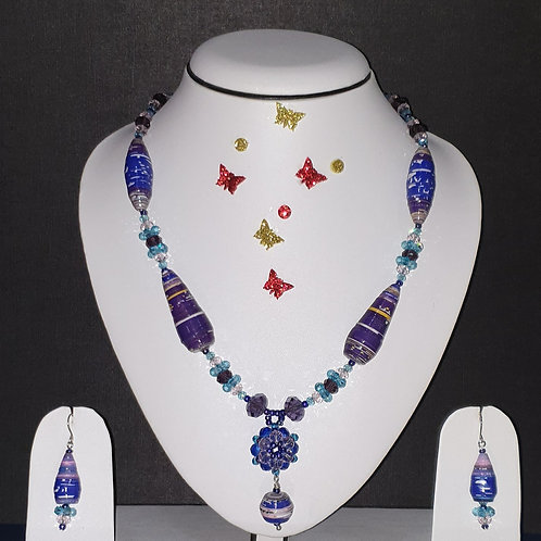 Neck piece set of purple cone beads with matching ear rings