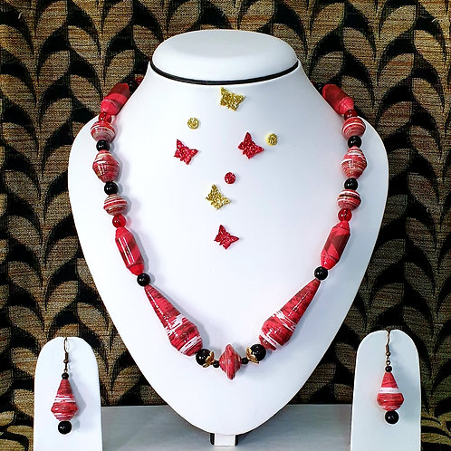 Neck piece set of pink beads  with matching ear rings