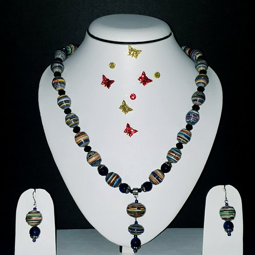 Neck piece set of multicolour round beads with matching ear rings