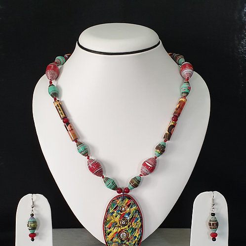 Neck Piece Set of Multi Shaped Beads with Pendant & Matching Earrings